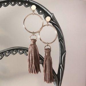 Rose Gold Ring Tassel Dangling Earrings